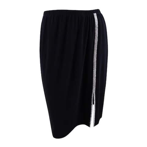 MSK Women's Petite Embellished A-Line Skirt (PXL, Black/Silver) - Black/Silver - PXL