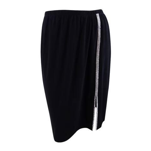 MSK Women's Plus Size Embellished A-Line Skirt - Black/Silver - 1X