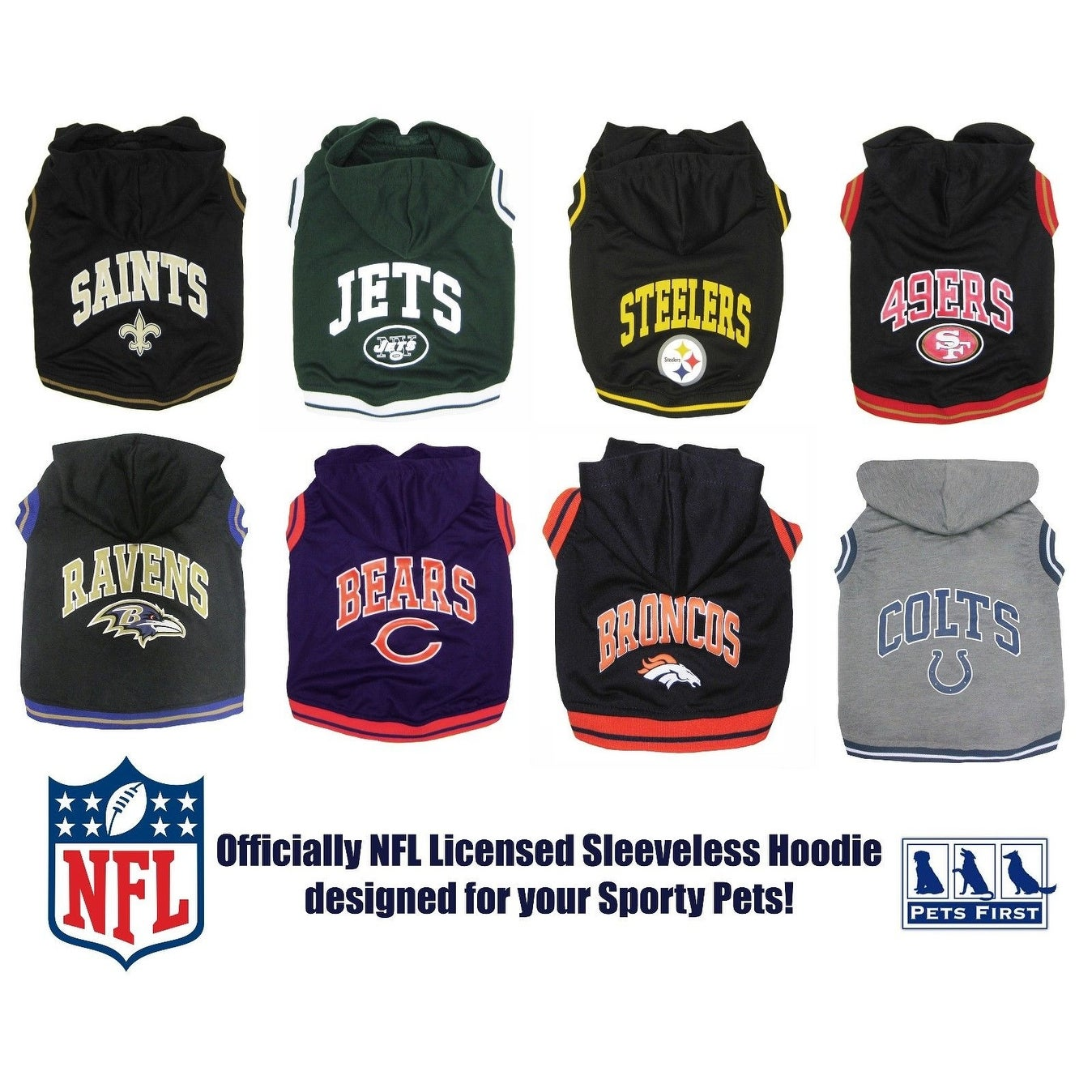 reputable site 11802 f65ab Pets First NFL Pet Sleeveless Hoodie Shirt - Licensed Sporty Hooded Shirt