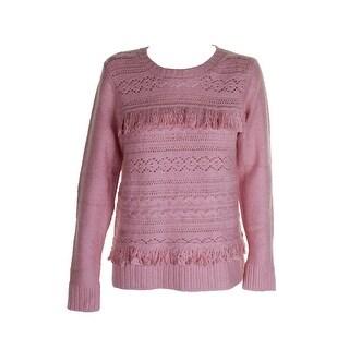 Kensie Cameo Pink Fringe-Trim Crew Neck Sweater M