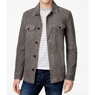 Michael Kors NEW Gray Mens Size Medium M Button-Front Suede Jacket