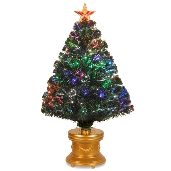 3' Pre-lit Fiber Optic Radiance Fireworks Artificial Christmas Tree with Gold Base - Multi Lights - green