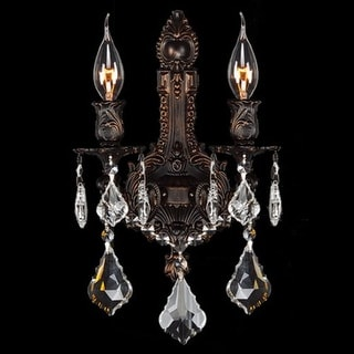 """Worldwide Lighting W23314F12 Versailles 2 Light 12"""" Wall Sconce in Flemish Brass with Clear Crystals"""