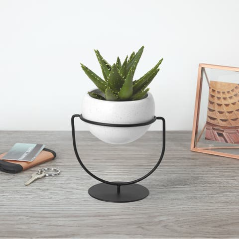 """Umbra 1009251 Nesta 6 3/4"""" Wide Ceramic Free Standing Planter with Metal Frame by Sung Wook Park - White"""