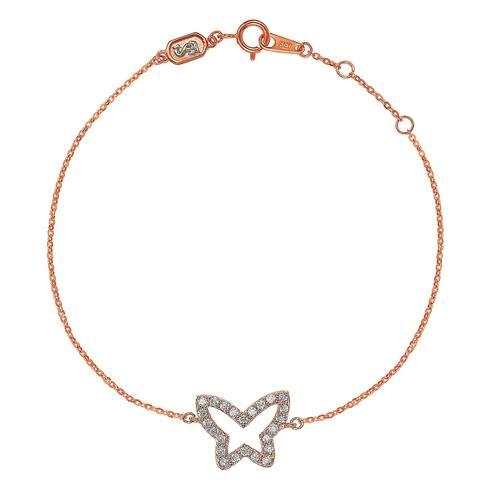 Suzy Levian 14K Rose Gold & .30 cttw Diamond Butterfly Solitaire Bracelet