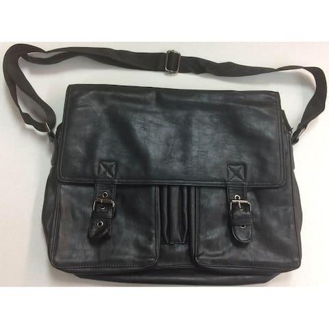 Zara Black Leather Laptop Satchel Handbag