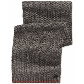 Calvin Klein NEW Gray Mens One Size Twisted-Thermal Knit Muffler Scarf