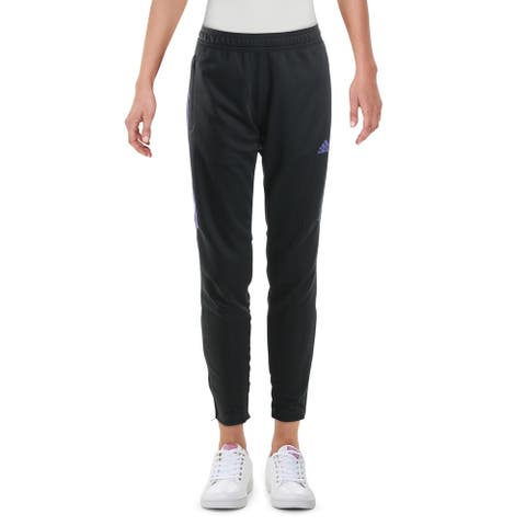 Adidas Womens Track Pants Fitness Running - Carbon/Purple - S