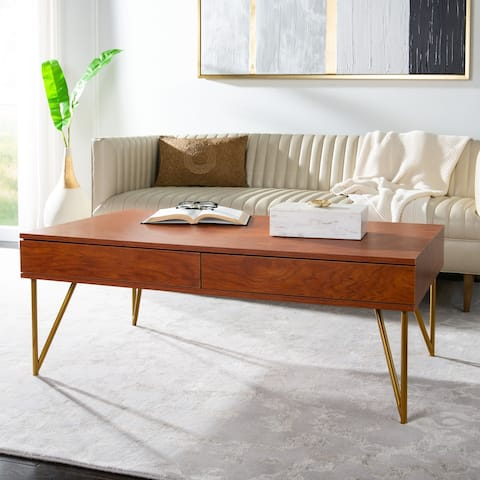 "SAFAVIEH Pine Two Drawer Coffee Table - 43.3"" x 25.9"" x 16.5"" - 43.3"" x 25.9"" x 16.5"""