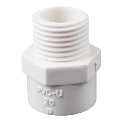 PVC-U Straight Type Water Pipe Tube Connector Adapter Fitting White for Garden