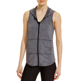 Elie Tahari Womens Casual Vest Hooded Full Zip