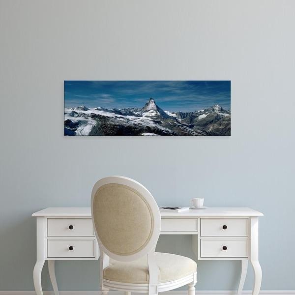 Easy Art Prints Panoramic Images's 'Snow on mountains, Matterhorn, Valais, Switzerland' Premium Canvas Art
