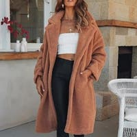 Women's Coat Fashion Long Lapel Faux Shearling Shaggy Oversized Coat Jacket Warm Winter