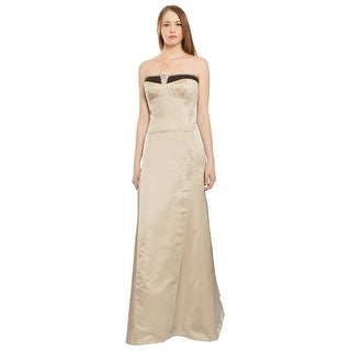 Carolina Herrera Embroidered Lace Strapless Evening Ball Gown Dress - 12