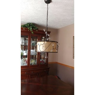 Amelia Bronzetone and Round Fabric Shade Chandelier