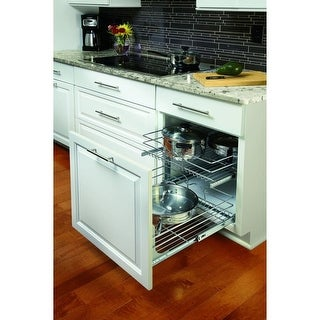 """Rev-A-Shelf 5WB2-1822 5WB Series 18"""" Wide by 22"""" Deep Two Tier Pull Out Base Cabinet Wire Basket Organizer - N/A"""