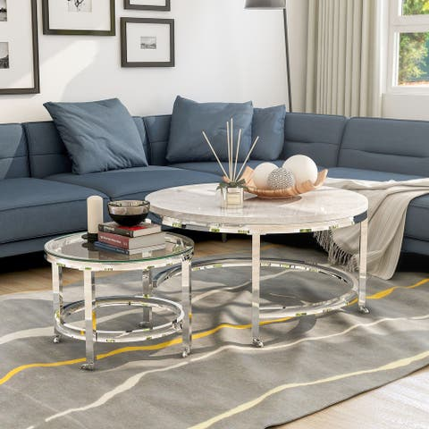 Furniture of America Qule Contemporary White 34-inch Nesting Coffee Table