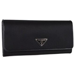 """Prada Women's 1MH132 UZO Tessuto Black Nylon Continental Wallet W/ID Case - 7.5"""" x 4"""""""