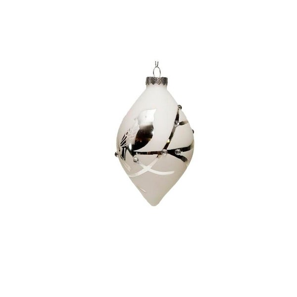 """6.5"""" Winter Light Cardinals on a Branch Glass Finial Christmas Ornament - WHITE"""