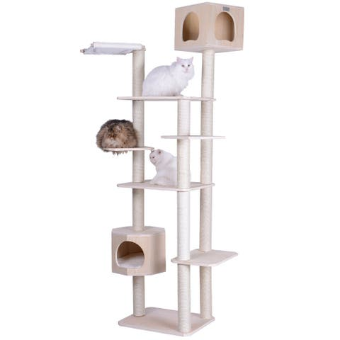 Armarkat Premium Scots Pine 89-Inch Cat Tree Tower with Seven Levels, Two Playhouses