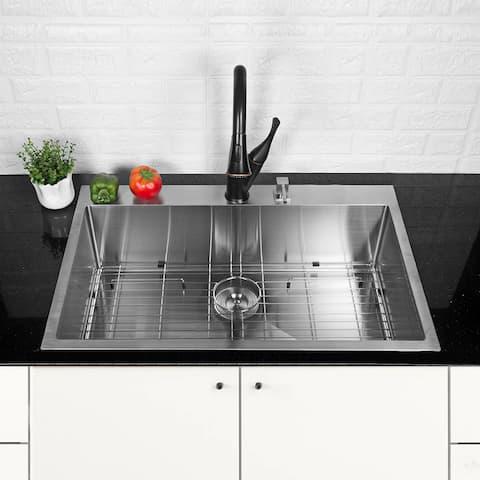 33 inch Single Bowl Stainless Steel Kitchen Drop-in Sink - 33 x 22 x 10