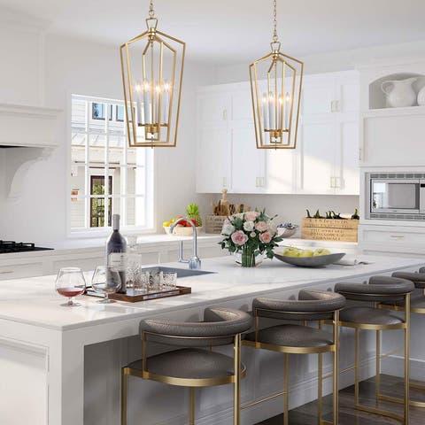 "Modern 4-light Brass Gold Pendant Island Lights for Dining Room - W14""xH28.3"""