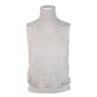 Maison Margiela Women's Grey Wool Knit Sleeveless Turtleneck Sweater