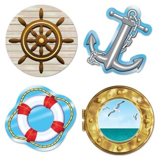 "Club Pack of 48 Multi-Colored Nautical Themed Cutout Party Decorations 13.75"" - Multi"