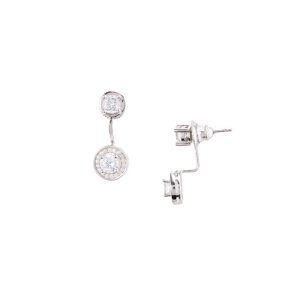 925 Sterling Silver Double Center Stone Ear Jacket with Cubic Zirconia