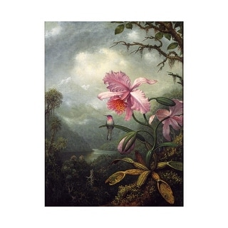 Easy Art Prints Martin Johnson Heade's 'Hummingbird Perched on an Orchid' Premium Canvas Art
