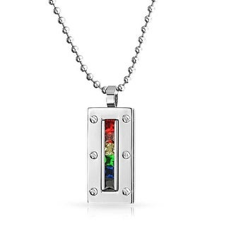 Bling Jewelry Gay Pride Multi Color CZ Rainbow Dog Tag Pendant Steel 2 Inches