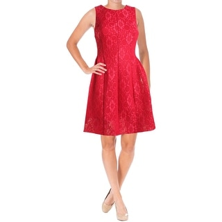 Calvin Klein Womens Scuba Dress Lace Pleated
