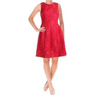 Calvin Klein Womens Scuba Dress Lace Pleated