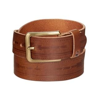 Tommy Hilfiger Mens Serape Deep Embossed Panel Brown Leather Belt 42