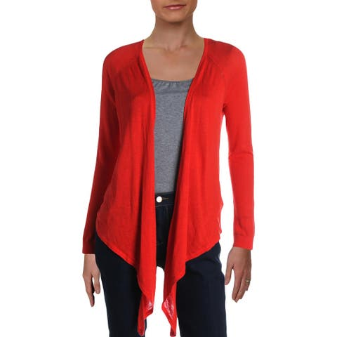 Lauren Ralph Lauren Womens Cardigan Sweater Linen Open Front - Pink - XS