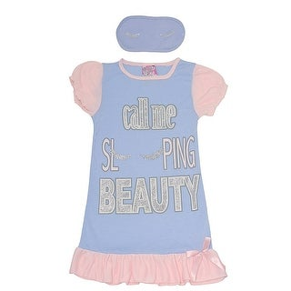 Sweet n Sassy Girls Blue Letter Print Sleep Mask Nightgown Set