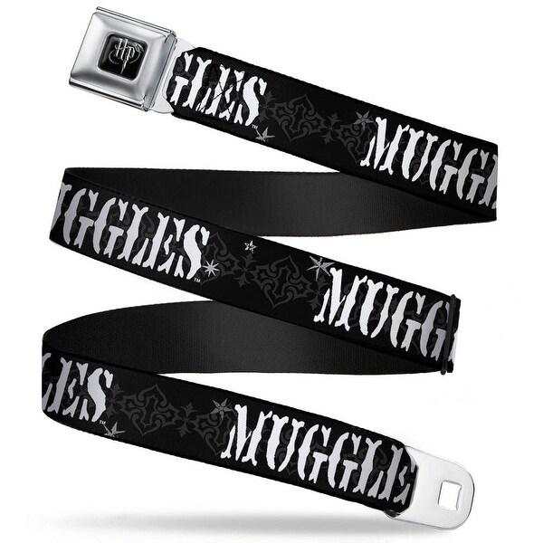 Harry Potter Logo Full Color Black White Muggles Black Gray White Webbing Seatbelt Belt