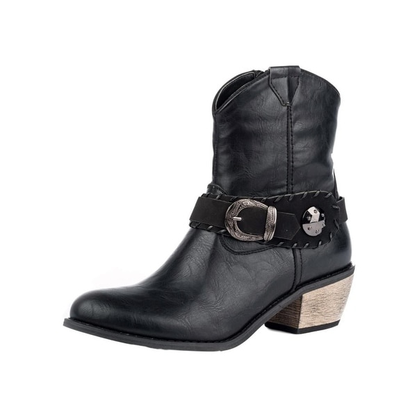 Roper Western Boots Women Mae Shorty Leather Black