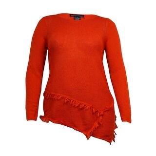 Grace Elements Women's Asymmetrical Fringed Knit Sweater