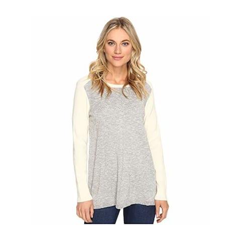 KENSIE Womens Gray Long Sleeve Jewel Neck Sweater Size XS
