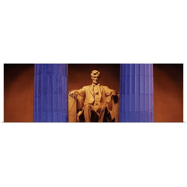 """""""Statue of Abraham Lincoln in a memorial, Lincoln Memorial, Washington DC"""" Poster Print"""