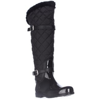 MICHAEL Michael Kors Fulton Harness Quilted Tall Rainboots - Black