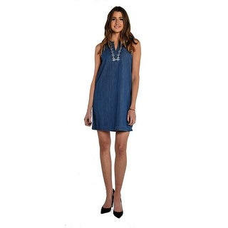 Vince Camuto Sleeveless Embroidered Splitneck Denim Dress