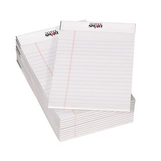 School Smart Junior Legal Pad, 5 x 8 Inches, 50 Sheets Each, White, Pack of 12