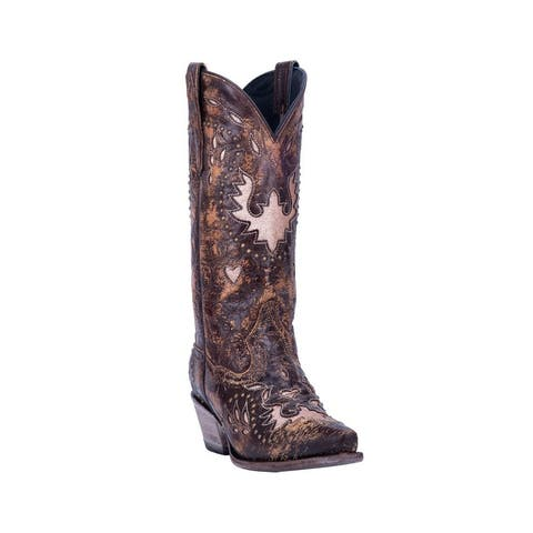 "Dan Post Western Boots Womens Mousse 12"" Pull On Leather Brown"