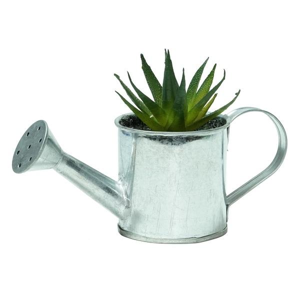 "4.25"" Green Mini Faux Aloe Vera Succulent in Tin Watering Can - N/A"
