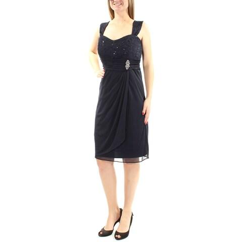 Womens Navy Sleeveless Knee Length Empire Waist Prom Dress Size: 10