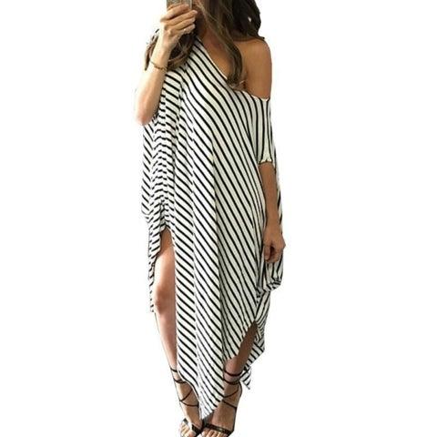 Soft & Loose Boho Off the Shoulder Maxi Dress