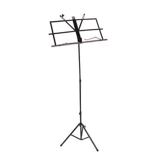 Glarry Handy Portable Adjustable Folding Music Stand with Bag Black