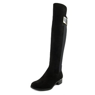 Calvin Klein Cyra Women Round Toe Suede Black Over the Knee Boot
